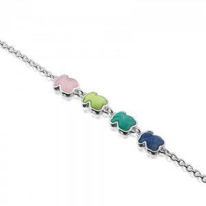 0a41a718a0d3 Esta pulsera de plata tiene 4 osos de los colores de esta temporada   cuarcita rosa